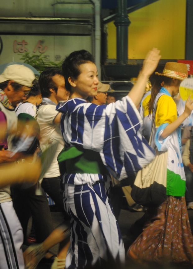 Dancers from the crowd join the Awa Odori.