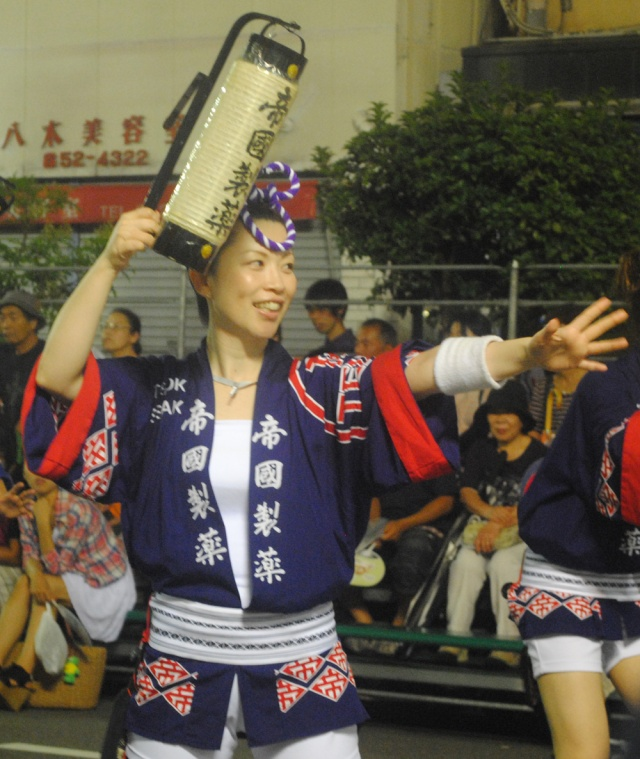 Women in Awa Odori men's dress at Tokushima, Japan.