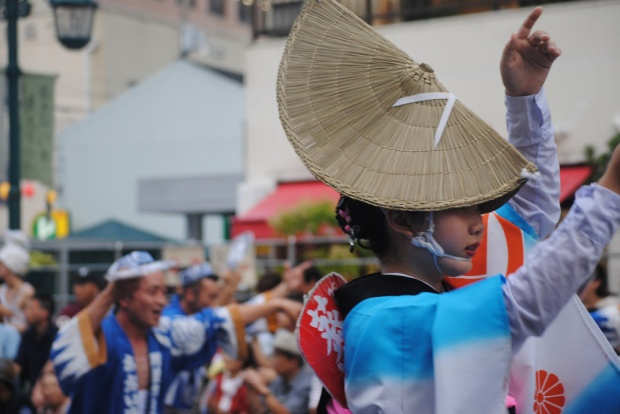 Woman at Awa Odori in traditional costume.