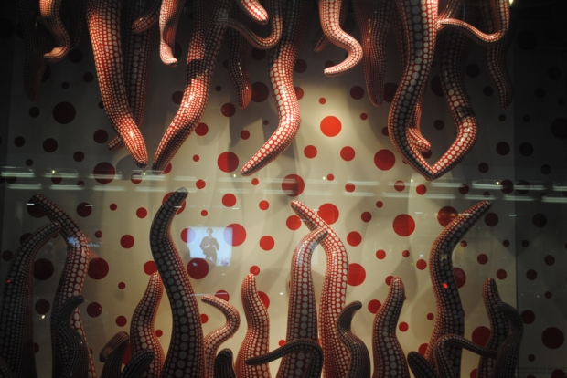 Kusama phallic window display