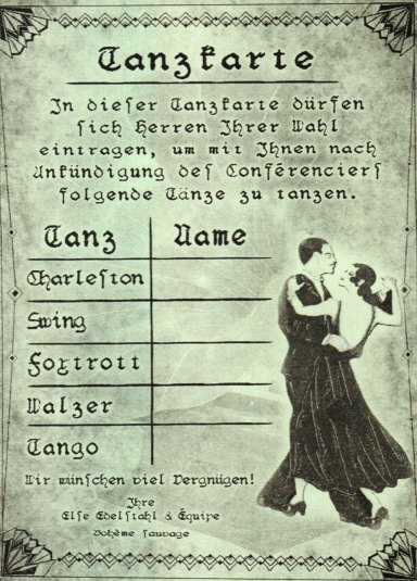 Dance card (Tanzcarte) Boheme Sauvage, Berlin