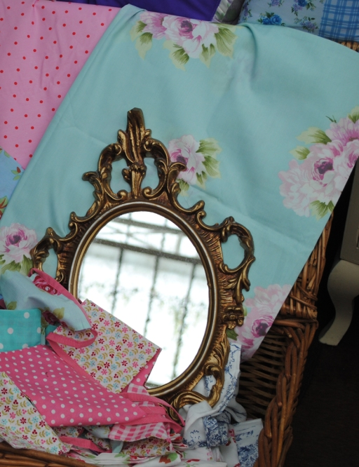vintage fabric and mirror