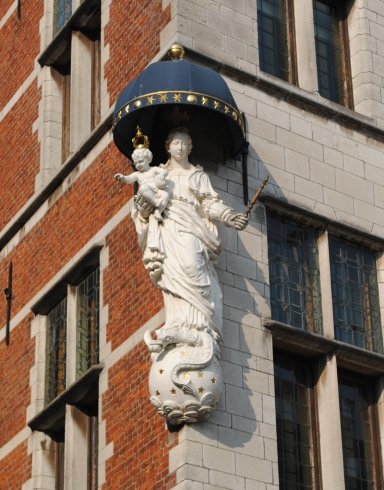 Christian sculpture on building Antwerp